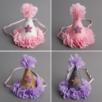 10pcs Lot Handmade Infant Felt Glitter Crown Flower Headband Star Newborn Baby Girls Birthday Party DIY