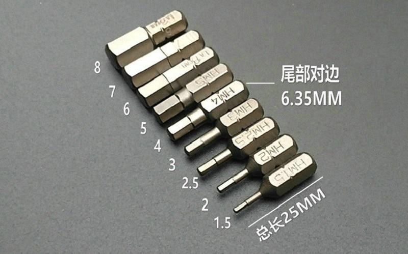 New 9Pcs L25mm Magnetic Hex Screwdriver Bits 1.5-8MM Metric System S2 Steel 1/4