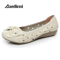 HOT Cut Outs Women Flat Shoes Summer Women Sandals Genuine Leather Bowtie Loafers Women Ballet Flats