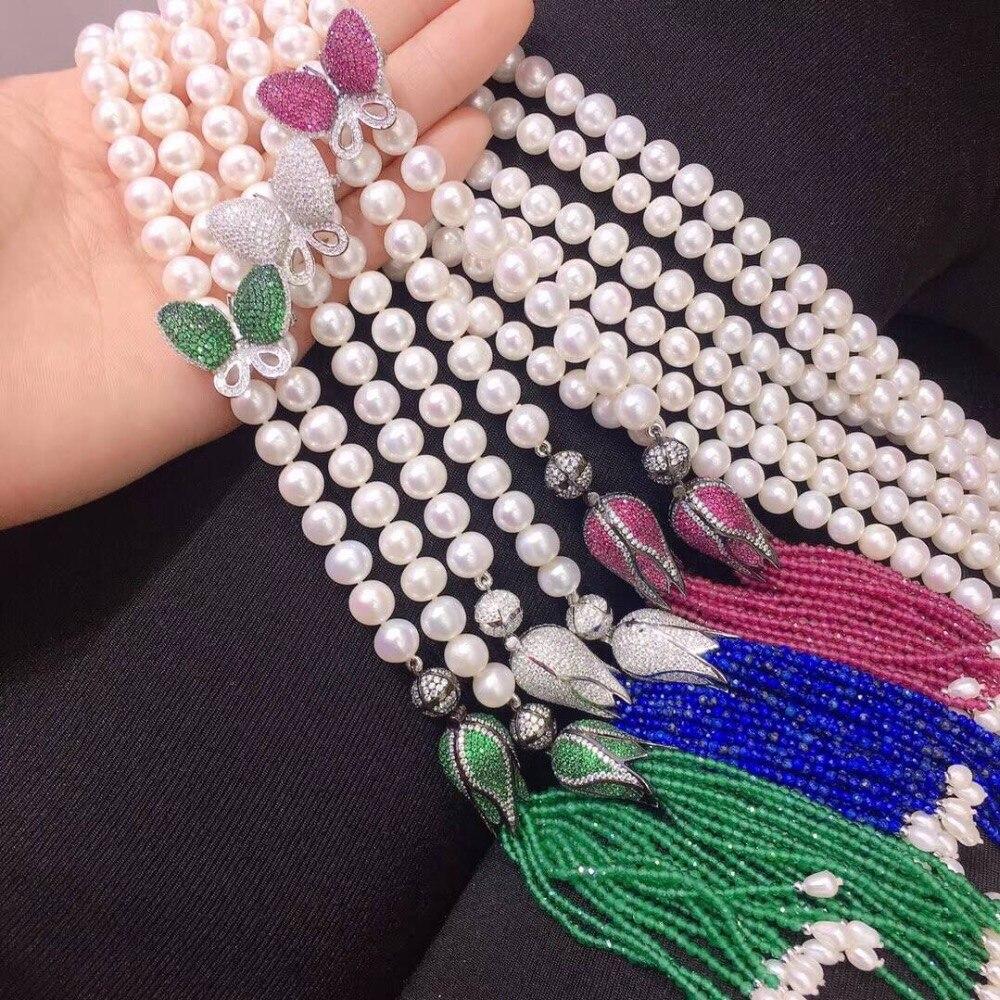 Длинные пресной воды Жемчужное ожерелье стерлингового серебра 925 бабочка кисточки прекрасные женщины, ювелирные изделия Бесплатная достав