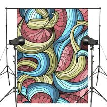 3D Stereoscopic Photography Background Colorful Stripes Abstract Backdrop Photo Studio Backdrop Wall 5x7ft