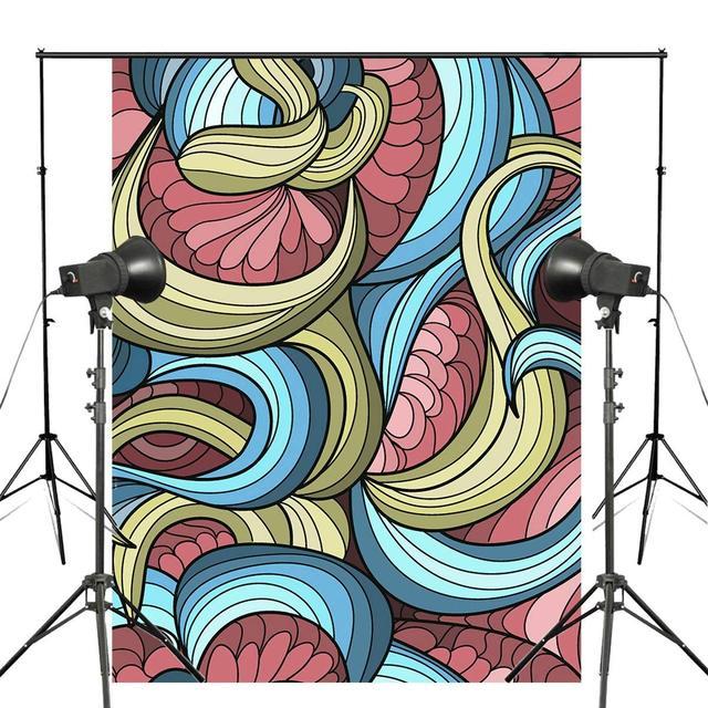 3D Stereoskopik Fotoğraf Arka Plan Renkli Çizgili Soyut Fotoğraf Backdrop Fotoğraf Stüdyosu Zemin Duvar 5x7ft
