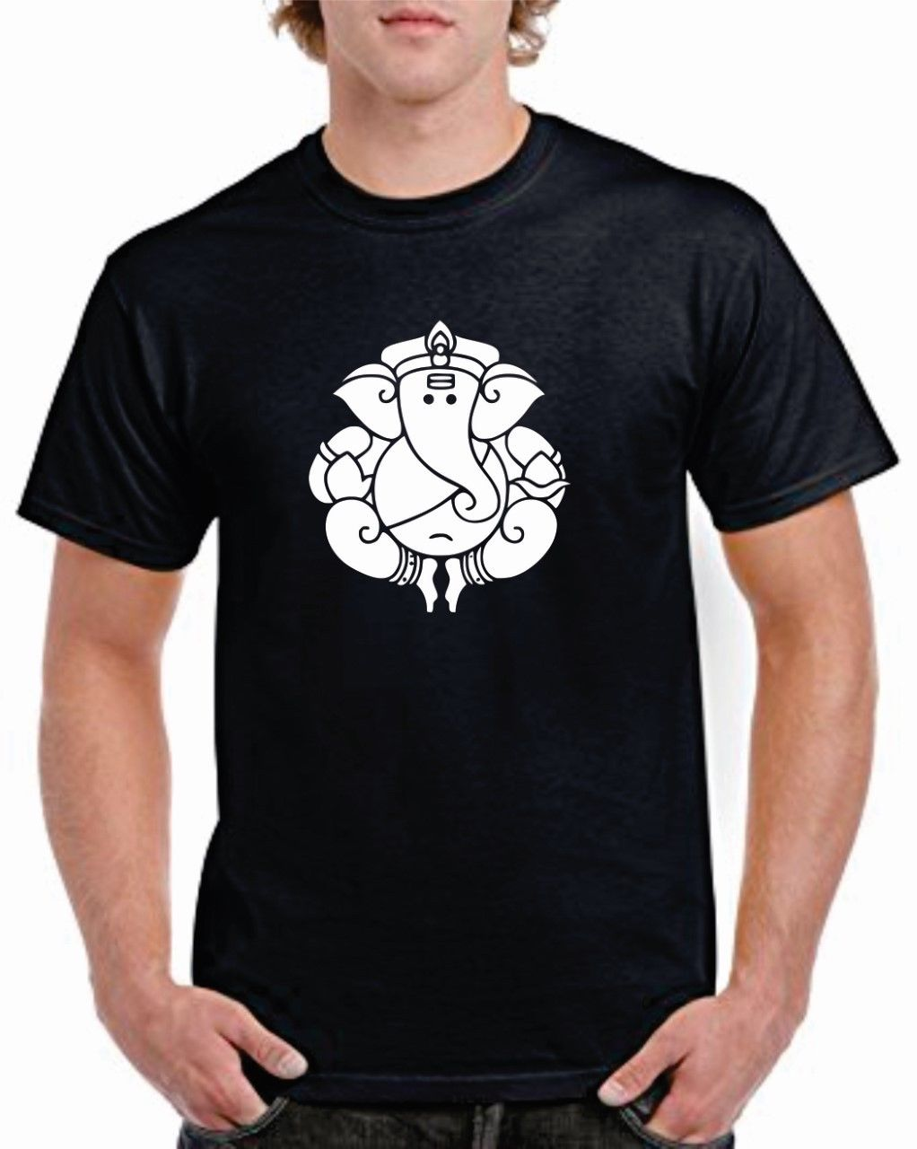 INDIAN ELEFANT Gut Brust Aufdruck T-Shirt GANESH RELIGION HIPPIE MODE T-Shirt Print T Shirt Men Brand Clothing