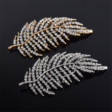 Plant Series Leaf Brooch Pin Wedding Jewelry Women Rhinestone Crystal Fashion Pins