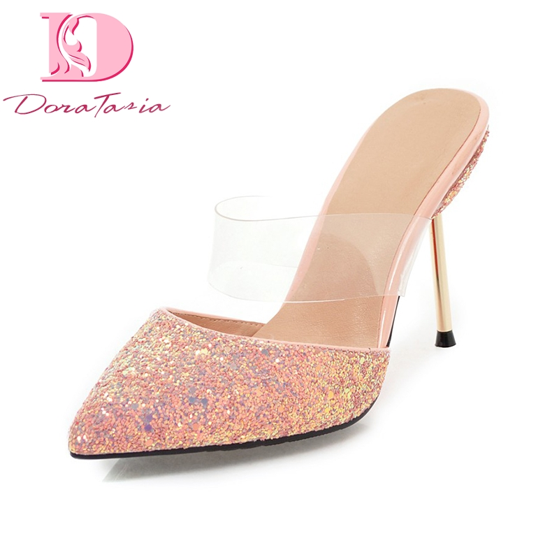 DoraTasia 2018 Sequined Cloth Plus Size 32-43 Slip On Thin High Heels Women Pumps Pointed Toe Mules Pumps Shoes