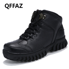 QFFAZ Men Ankle Boots High Quality Genuine Leather Men Work&Safety Boots Winter Shoes Rubber Boots For Men Work Shoes