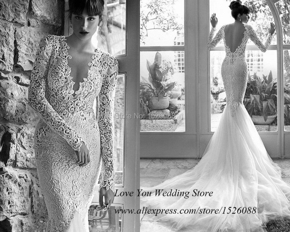 Sensual Berta Mermaid Wedding Dresses Long Sleeve Lace