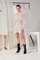 EXCOSMIC New Summer V Neck Mini Beach Party Style Dot Hollow Out Lace Boho Dress Women Lantern Sleeve Embroidery Runway Dresses