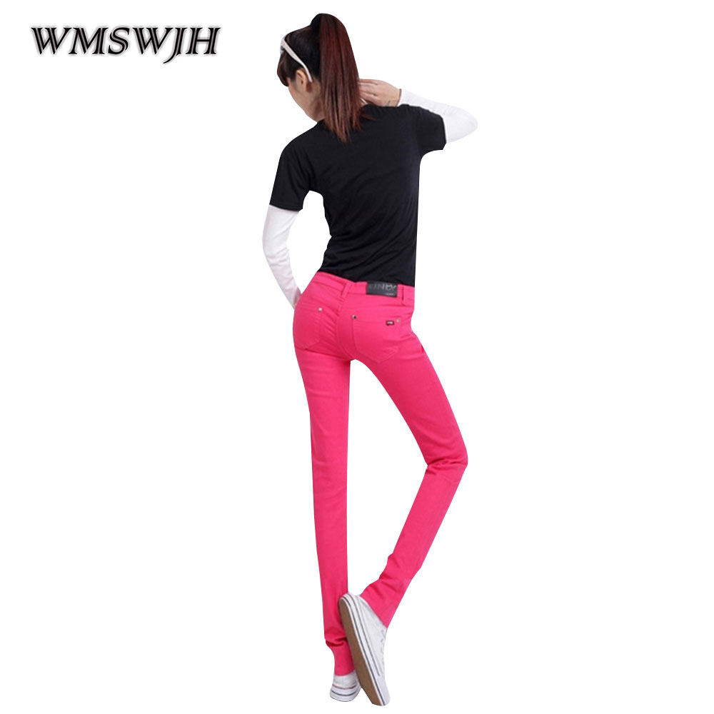 Wmswjh Candy Color Small Feet Jeans Women Trousers Summer New Korean Version Large Size Was Thin Casual All Cotton Pants WJM90 new printing jeans men s slim feet pants korean flower pants nightclubs hairdressers thin style summer mens trousers size 28 38