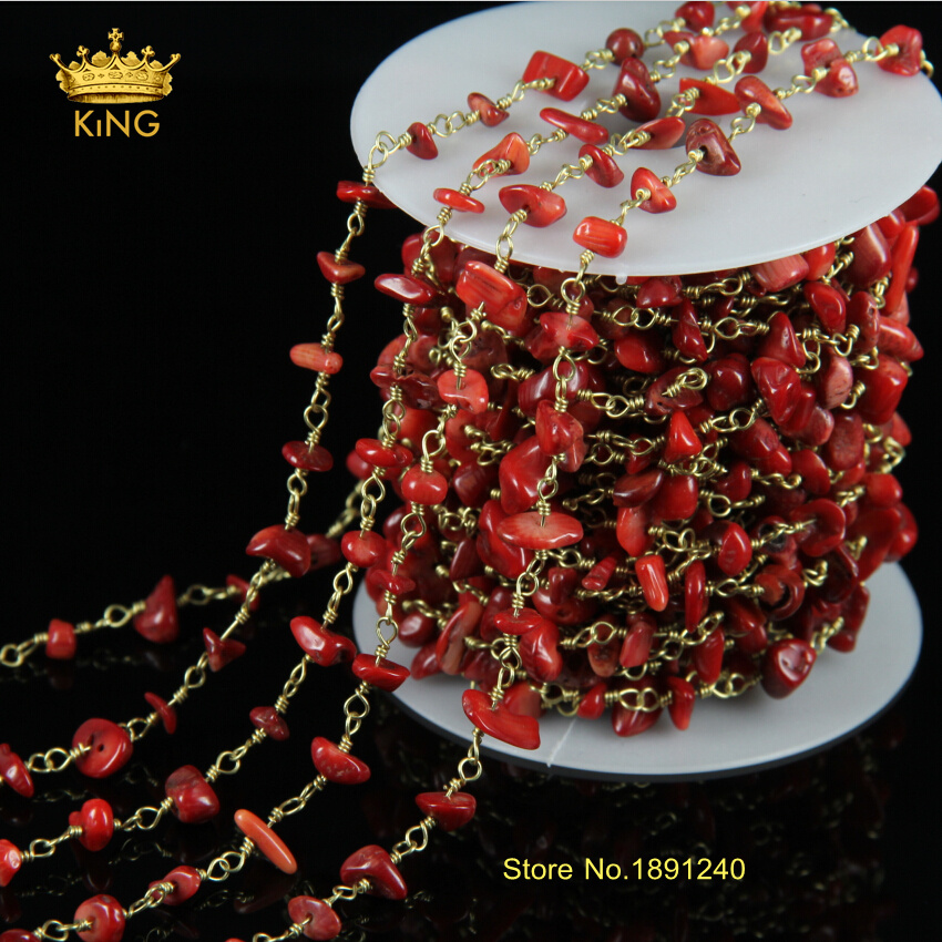Long Strand 5meters Sales Natural Red Coral Nugget Beads Plated Gold Chains Stones for DIY Making Bracelet Necklace JD0105