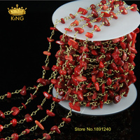 Long Strand 5meters Sales Natural Red Coral Nugget Beads Plated Gold Chains Stones For DIY Making