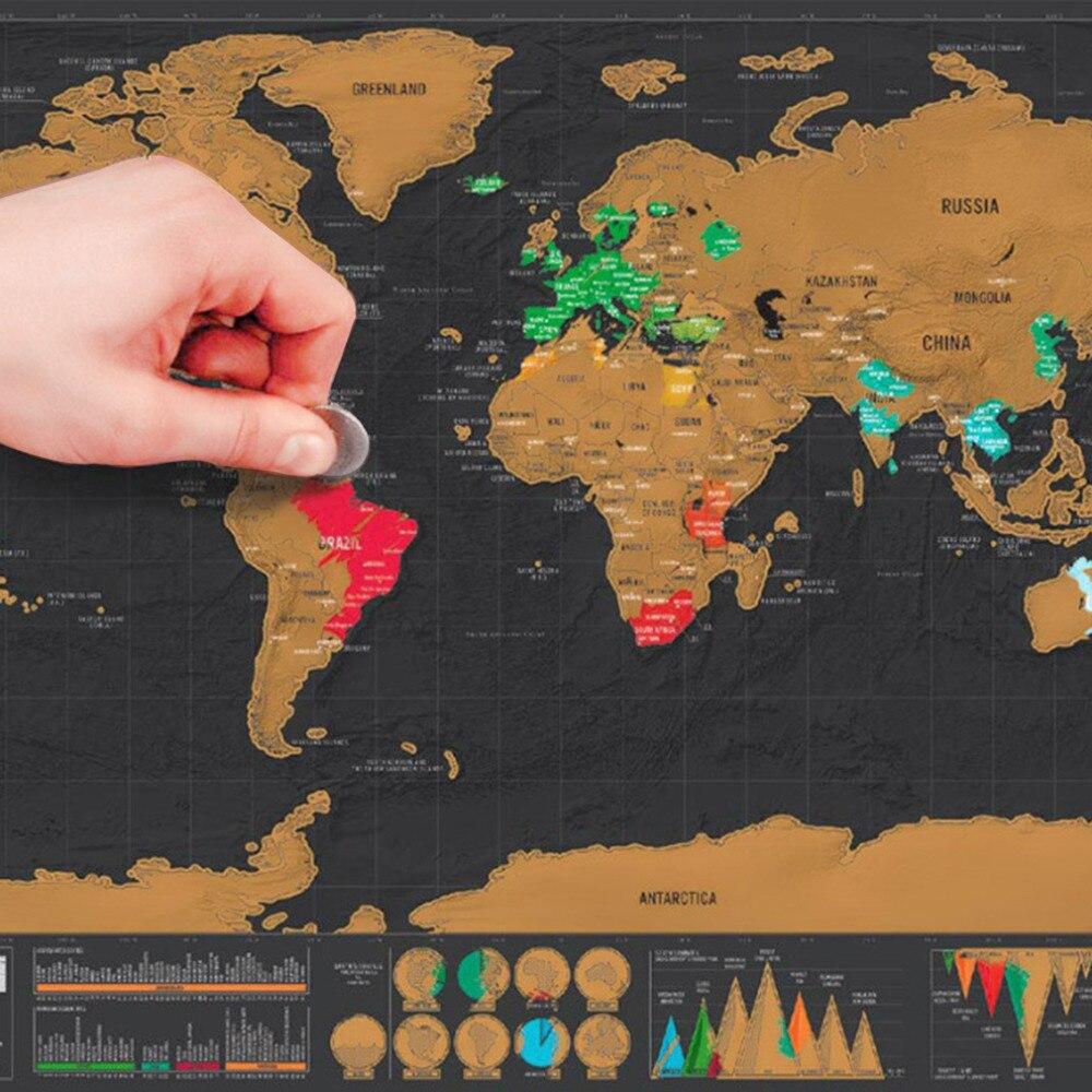 2017 Venta caliente 1 unid palabra negro Mapas Deluxe Scratch mundo Mapas cartel las vacaciones del viajero regalo 82.5X59.5 cm