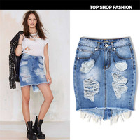 2017 Summer Fashion Short Mini Denim Skirt High Waisted Sexy Hip Split Jeans Pencil Skirts Tight