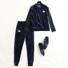 2018 NEW brand runway women sprint 2 piece pants suits velvet pullovers fleece and elastic waist pencil full pants casual suits