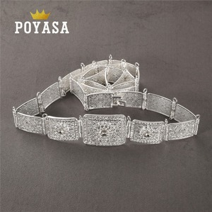 Image 3 - free shippping Moroccan Shining Square Caftan wedding gold and silver Metal belt for women