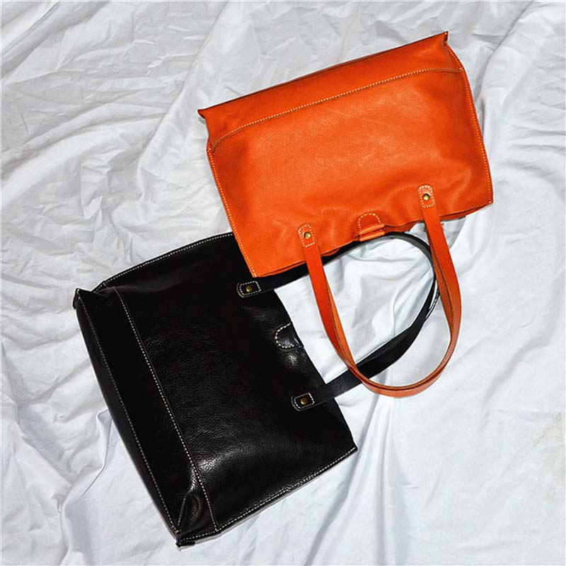 EUMOAN New women's bag planted suede women's bag retro oil wax head layer simple bag in the bag