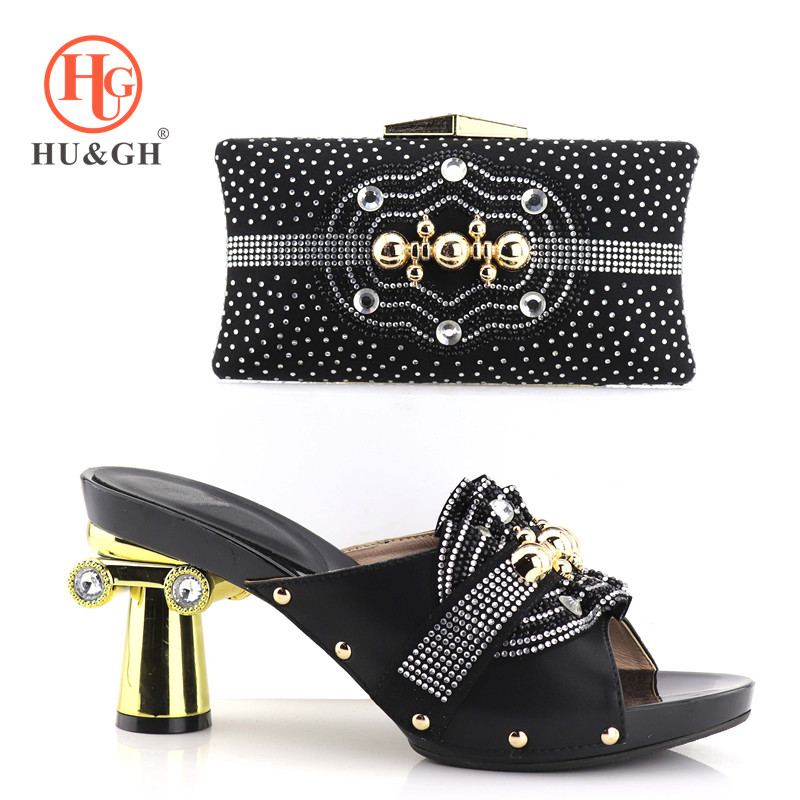 Italian Shoes with Matching Bags for Women Nigerian Shoes and Bag Set for ladies Black Color African Shoe and Bag Set for Party stylish hemming chain and striped printing color matching voile scarf for women