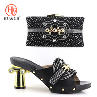 Italian Shoes with Matching Bags for Women Nigerian Shoes and Bag Set for ladies Black Color African Shoe and Bag Set for Party