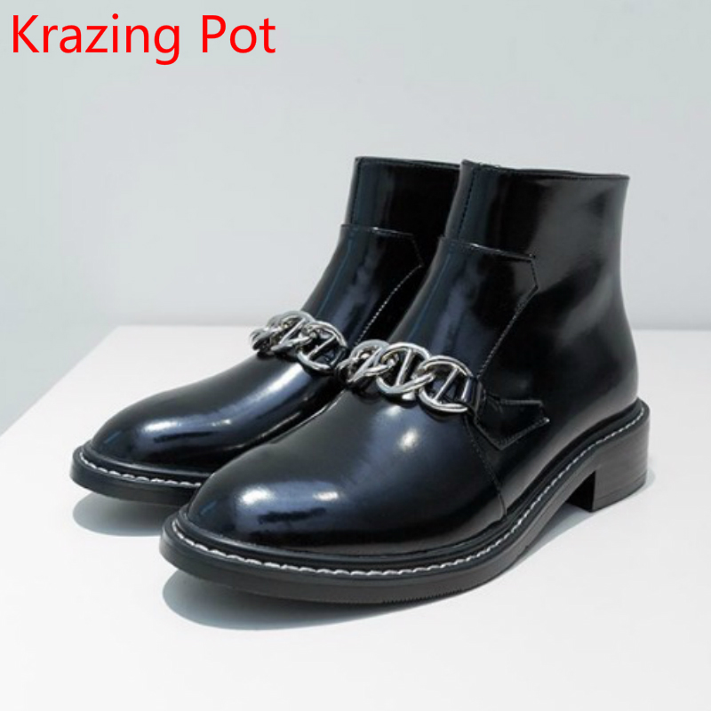 2018 Fashion Brand Winter Boots Genuine Leather Metal Chains Round Toe Thick Heel Keep Warm Handmade Ankle Boots for Women L11 fashion genuine leather chelsea boots handmade keep warm winter boots round toe thick heels concise ankle boots for women l08