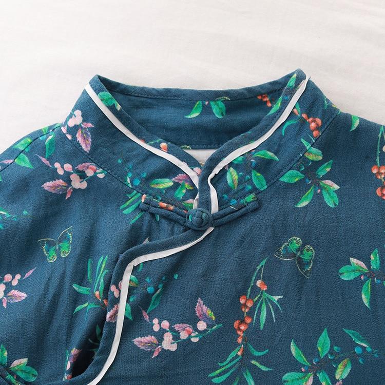 Manches Mode Longues Lin Vent Montant Ethnique Nouveau Floral Impression Femmes Coton Nouvelles Style National Col Robe Petit À Bleu 4qd16Ow