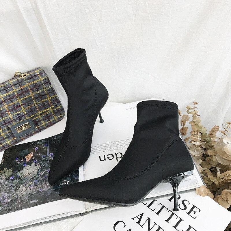 Bottes Stiletto Haute Commerce De 2018 Nouvelle 0219 bottes Femmes Noir Ljj À Extérieur Automne Élastique Pointu Talons g7Yfybv6