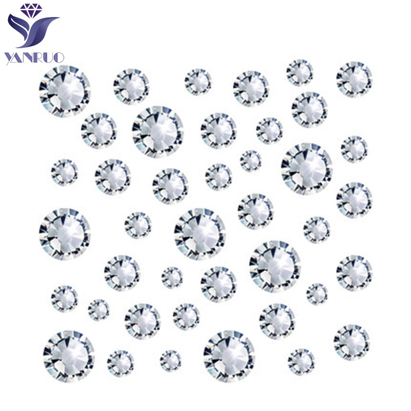 YANRUO Rhinestones Flatback 3D Nail Art Decorations Costura Crystal Clear Strass Glass Non Hotfix Rhinestones Glue Nails Clothes