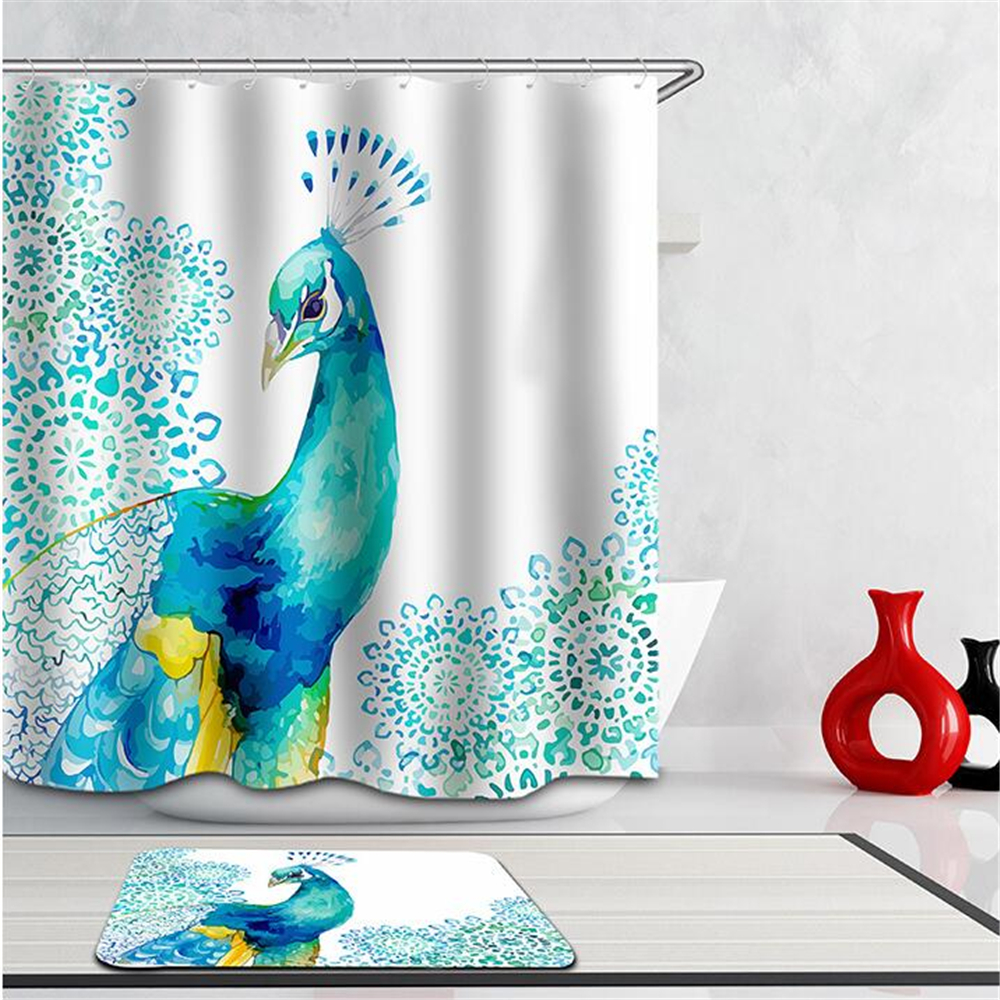 Peacock feather fabric shower curtain quot teal peacock feather quot green - 3d Curtains Beautiful Peacock Bird Feathers Shower Curtain Waterproof Fabric Bath Curtains For Bath Room