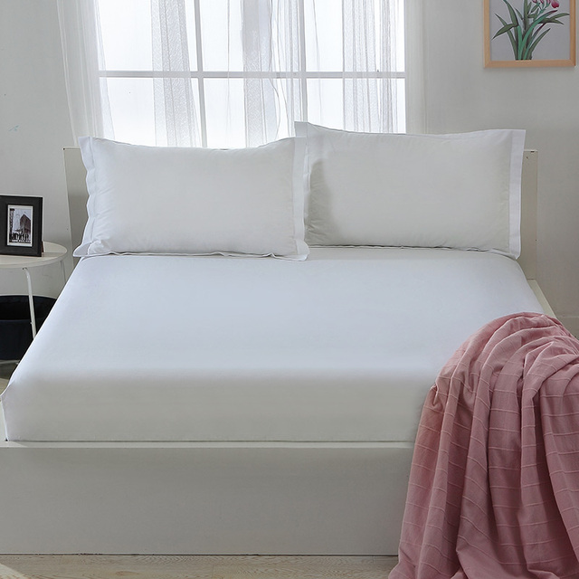 High Quality White Fitted Sheet With Elastic Band 100% Cotton Bed Sheets Twin Full Queen Size Bedsheet Mattress Protector Cover