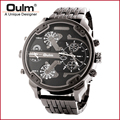 Men Brand Watch OULM Wristwatch Black Watch Bracelet Multiple Time Zone Bracelet Clasp Metal Case