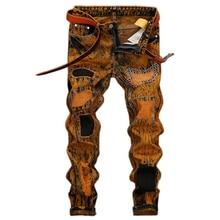 2017new отверстие мужчин джинсы вскользь прямые джинсы хлопок отверстие джинсы homme мужчины высококачественные джинсовые брюки hip hop байкер джинсы