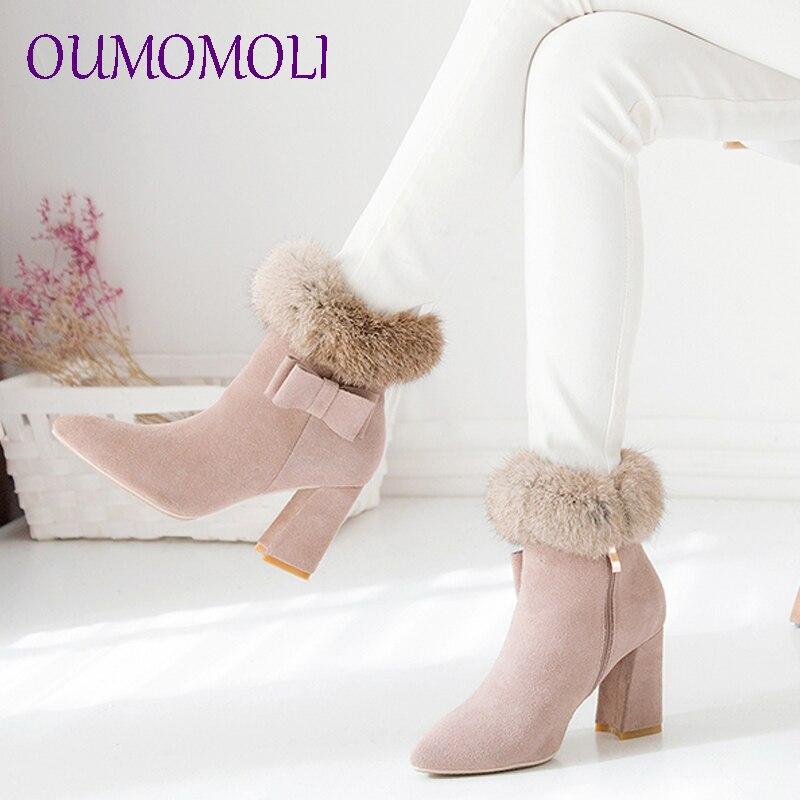 Talon 2019 Cuir Arrivent Court Peluche Bottes Nouveau Suédé Dames En Chaussures  Cheville Chaude Femme Arc ... 7bd7832daebb