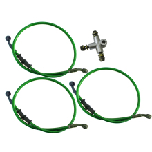 3 Way Adaptor & 3x 80cm Clutch Brake Oil Hose Tube Pipe Line Green for Motorcycle