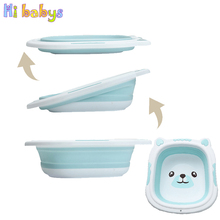 Baby Bathtub Folding Basin Silicone Washbasin Portable Collapsible Tourism Baby Products Infant Shower Baby Care Cartoon Bear