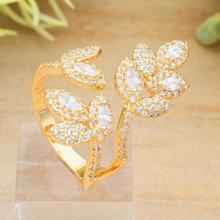 Newness Luxury Leaf Full Cubic Zirconia Copper Arabic Dubai Women Engagement Bridal Party Fashion Jewelry(