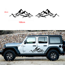 2X Mountain Graphic Car Fender Side Decal for Jeep Wrangler Rubicon Sahara KU-54