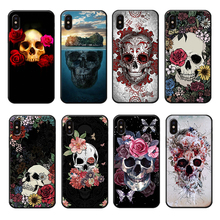 Retro Style Flower Skull Phone Case for iPhone 6 6s 7 8 Plus X XR XS Max Vintage Cover Silicone Soft Cases