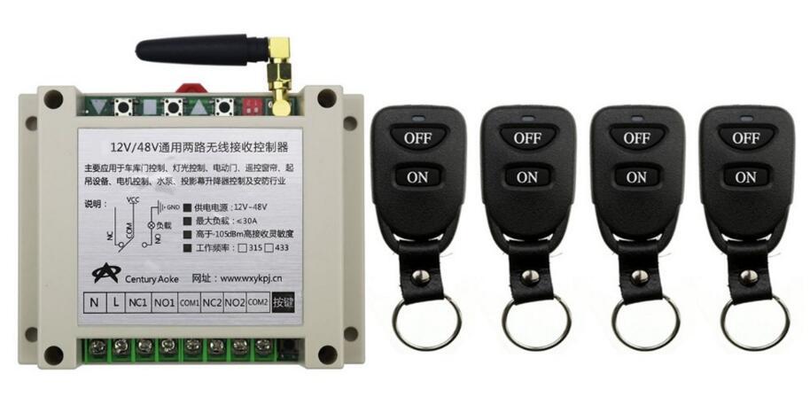 Nouveau DC12V 24 V 36 V 48 V 10A 2CH Télécommande Interrupteur Sortie Relais Radio Module Récepteur et 4 pièces Ceinture boucle Transmetteur