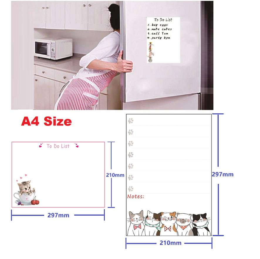 A4 Magnetic Whiteboard Fridge Magnets Sticker Dry Wipe Marker Message Board Memo Pads Daily Week Planner To Do List Kitchen Home in Fridge Magnets from Home Garden
