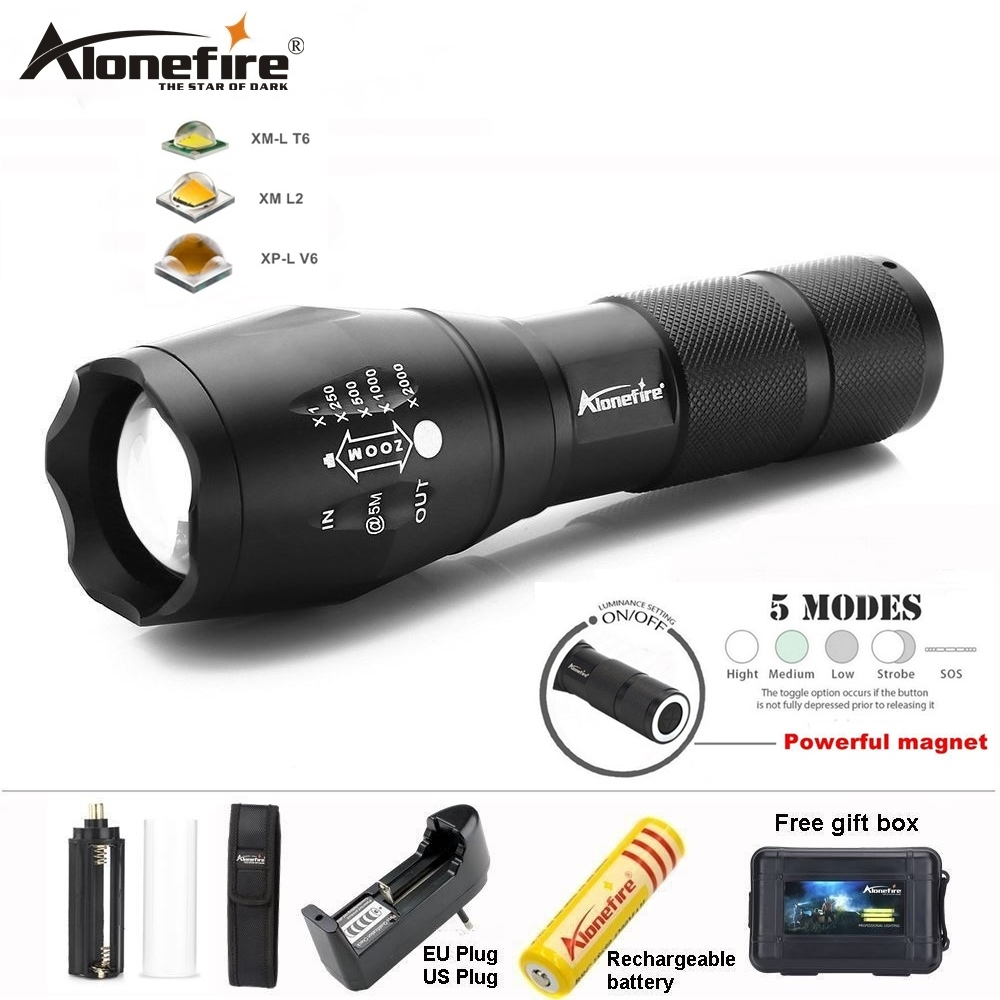 4-Mode Flashlight LED T6 Telescopic Zoom USB Rechargeable Torch Outdoor 18650 MT