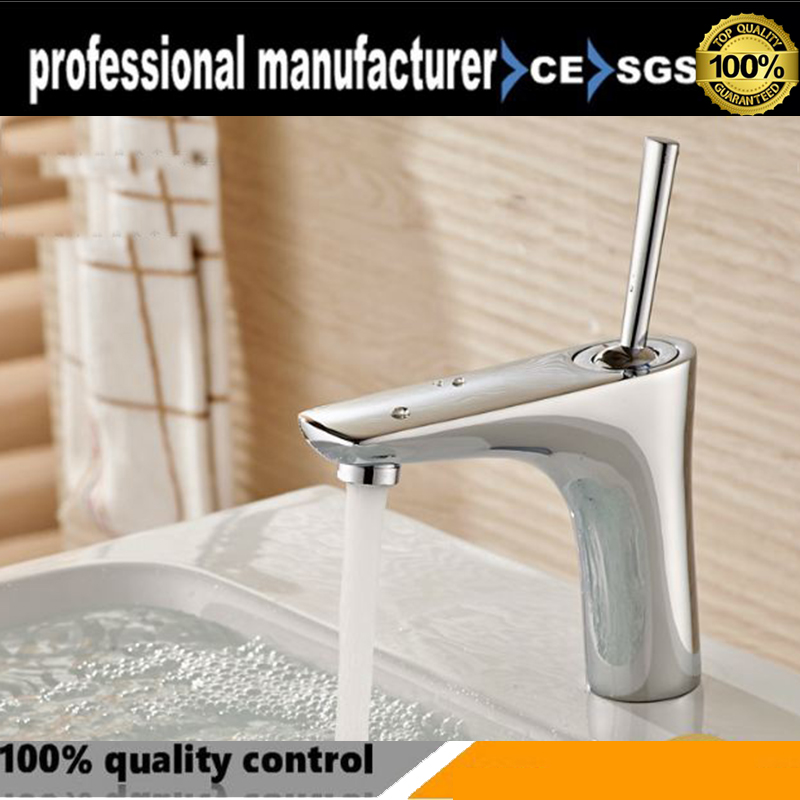 Full copper single hole basin basin vertical handle under the basin of hot and cold mixed water basin faucet 09 associated with the midpoint of the vertical single potentiometer b50k handle length 8mm
