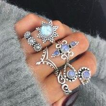 6pcs/set Bohemian Vintage Flower Crystal Ring Set For Women Hollow Lotus Gem Silver Rings Female Wedding Anniversary Gift