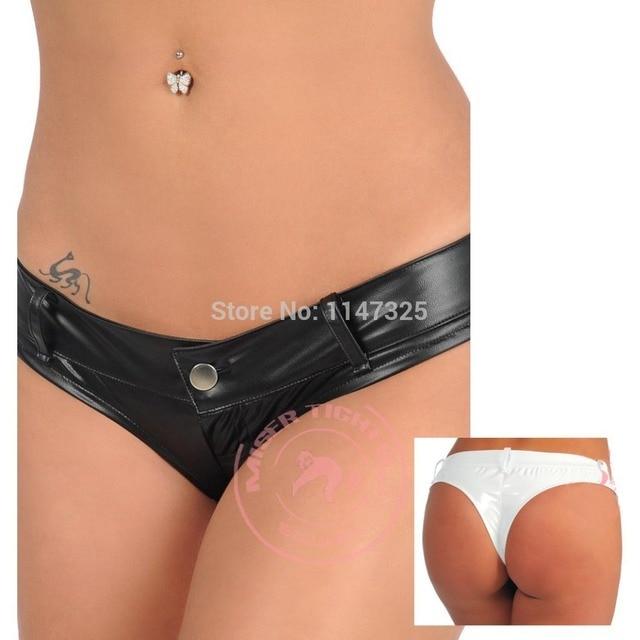 New Sexy Women Faux Leather T crotch Low Rise Shiny Micro Mini Thong Shorts Hot Dance Shorts Clubwear