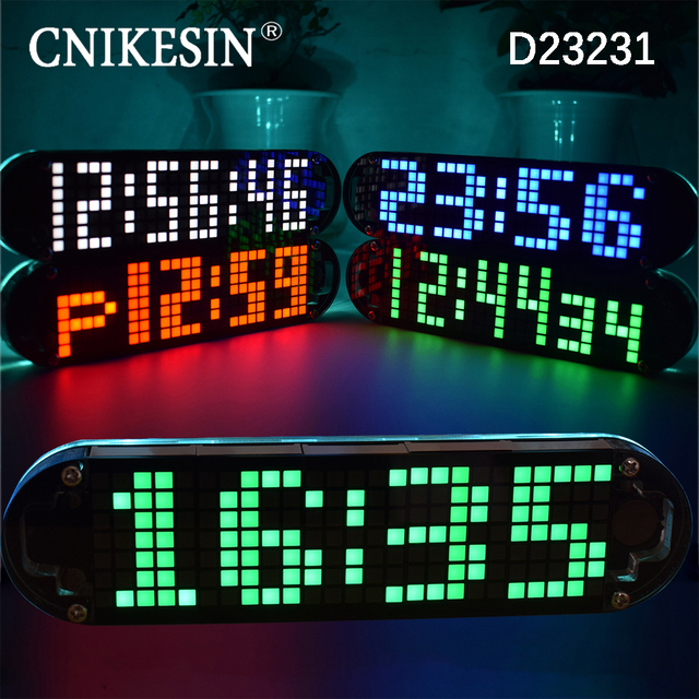 US $10 88 5% OFF|CNIKESIN Diy digital Clock kit DS3231 High Accuracy  Multifunction LED Dot Matrix Animation Effects Clock Suite-in Integrated  Circuits