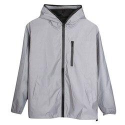 Светоотражающая куртка с длинными рукавами для мужчин/женщин harajuku, ветровка с капюшоном в стиле хип-хоп, уличная одежда, блестящие пальто на...