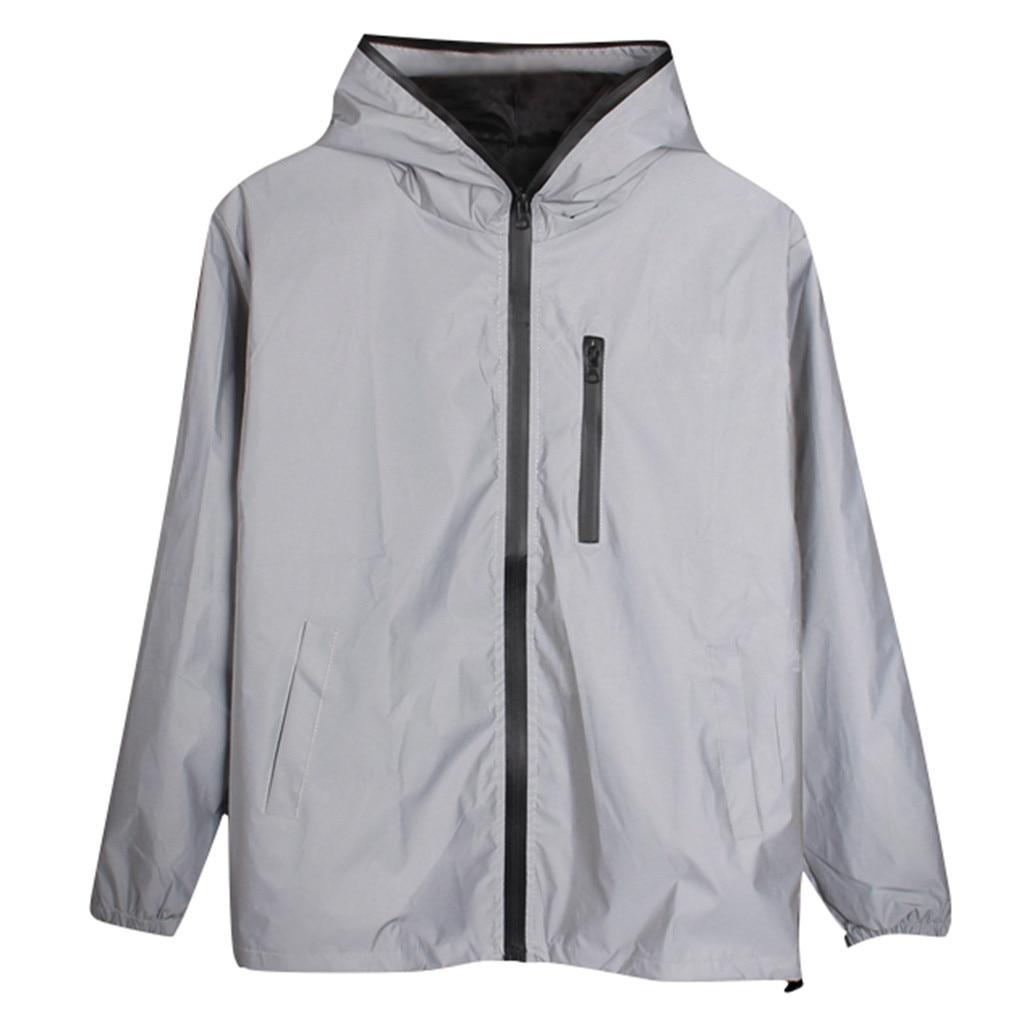 Светоотражающая куртка с длинными рукавами для мужчин и женщин, ветровка с капюшоном в стиле Харадзюку, уличная одежда в стиле хип хоп, блестящая Ночная куртка на молнии # g3|Куртки| | АлиЭкспресс