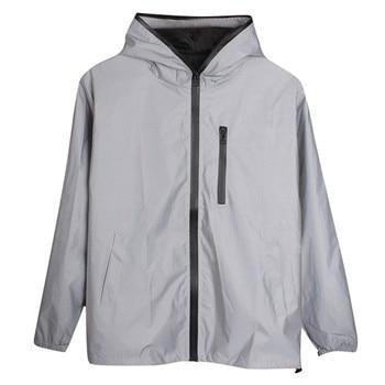 Long Sleeved Reflective jacket men / women harajuku windbreaker jackets hooded hip-hop streetwear night shiny zipper coats#g3