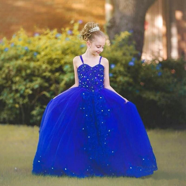 Royal Blue Flower Girls Dresses With Spaghetti Straps Sequins Lace Appliques Back Bow Girls Pageant Gown Any Size black sequins embellished open back lace up top