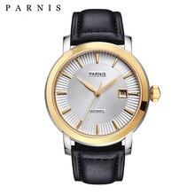 Herren Uhr Relojios Kleid Marke Mechanische Uhren Parnis 41mm 21 Juwelen Japan Sapphire Leder Automatische Männer Uhr Armbanduhr