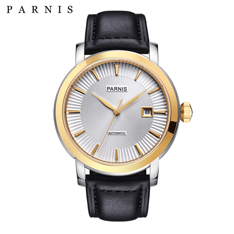 Mens Watch Relojios Dress Brand Mechanical Watches Parnis 41mm 21 Jewels Japan Sapphire Leather  Automatic Men Watch Wristwatch    -