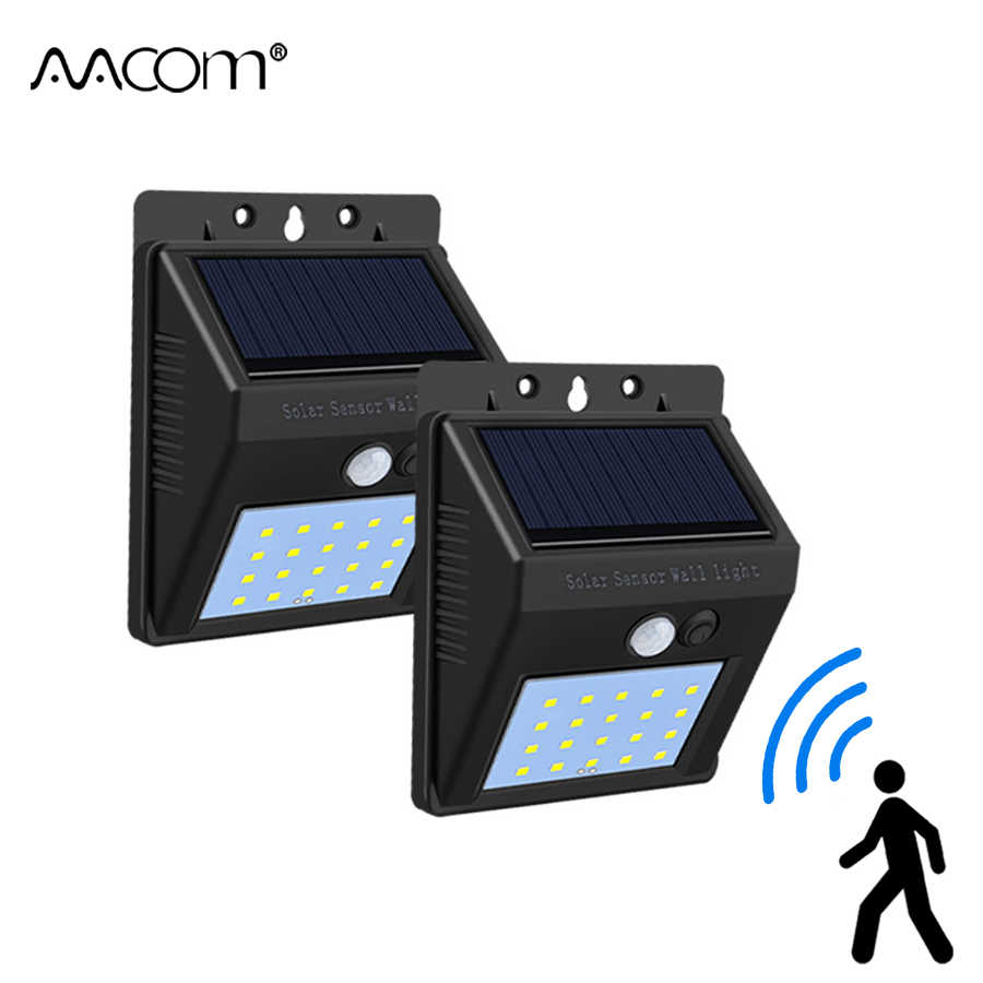 20 LEDs Solar LED Porch Lights PIR Motion Sensor LED Diode Wall Lamp IP65 Outdoor Path Way Garage Fence Auto ON/OFF Security